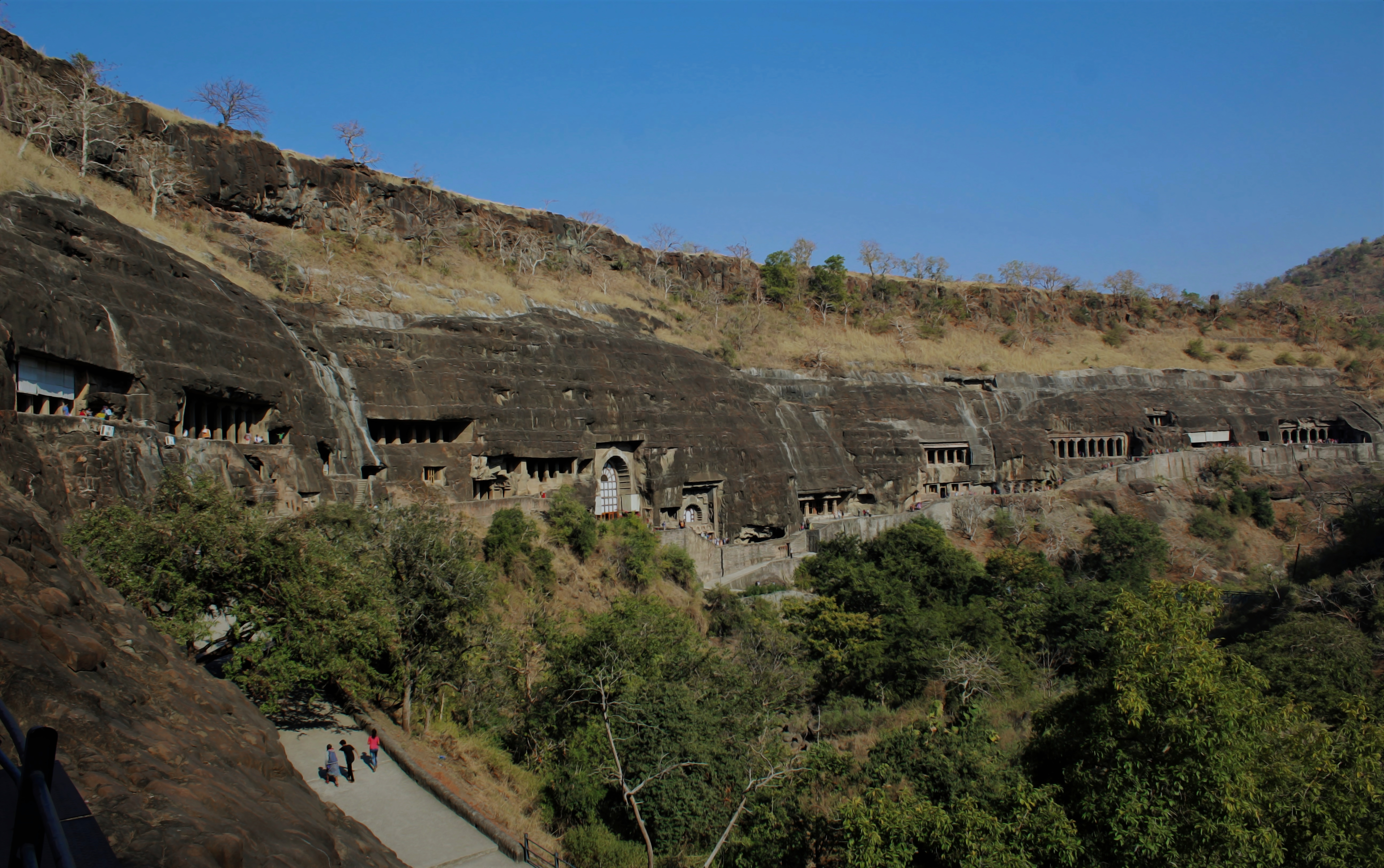 The Ajanta Caves - Arranged serially in a horse-shoe shaped Ridge